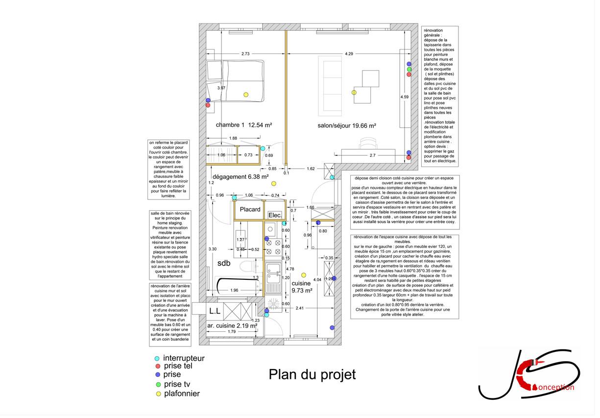 plan intérieur projet rénovation et home stagingla baule