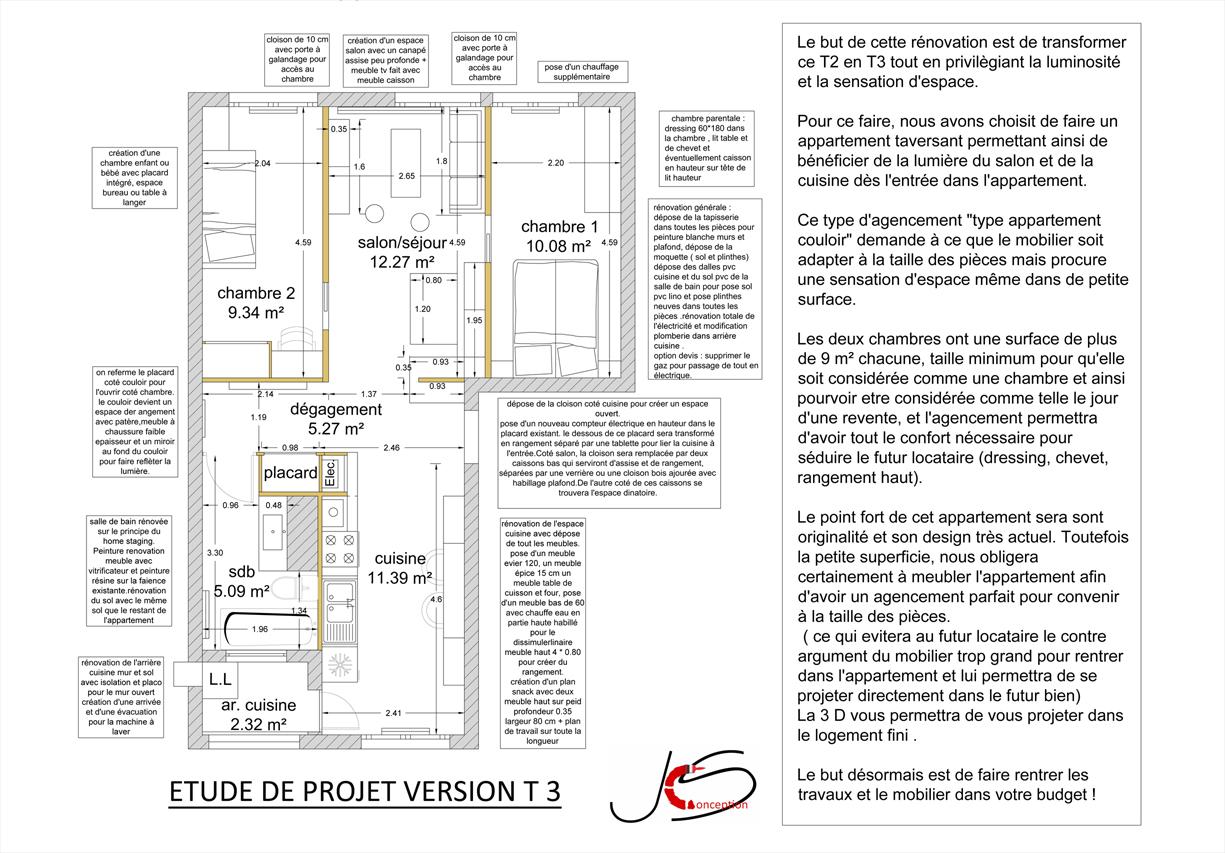 plan intérieur projet rénovation la baule