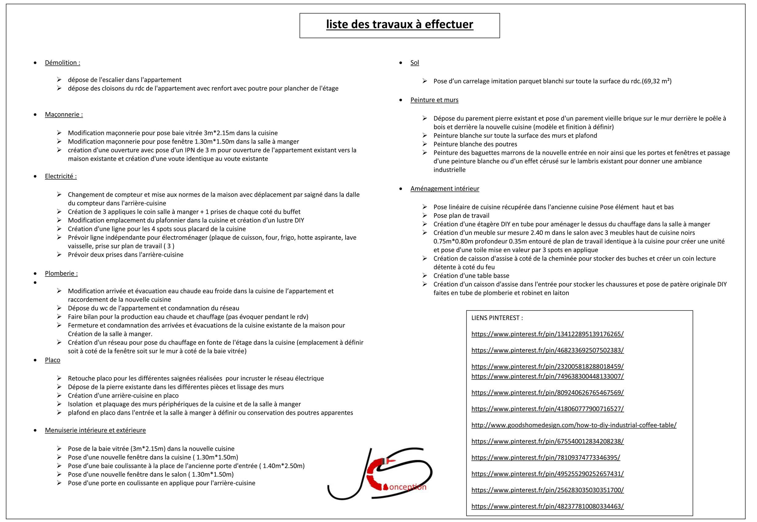 liste de travaux et lien internet