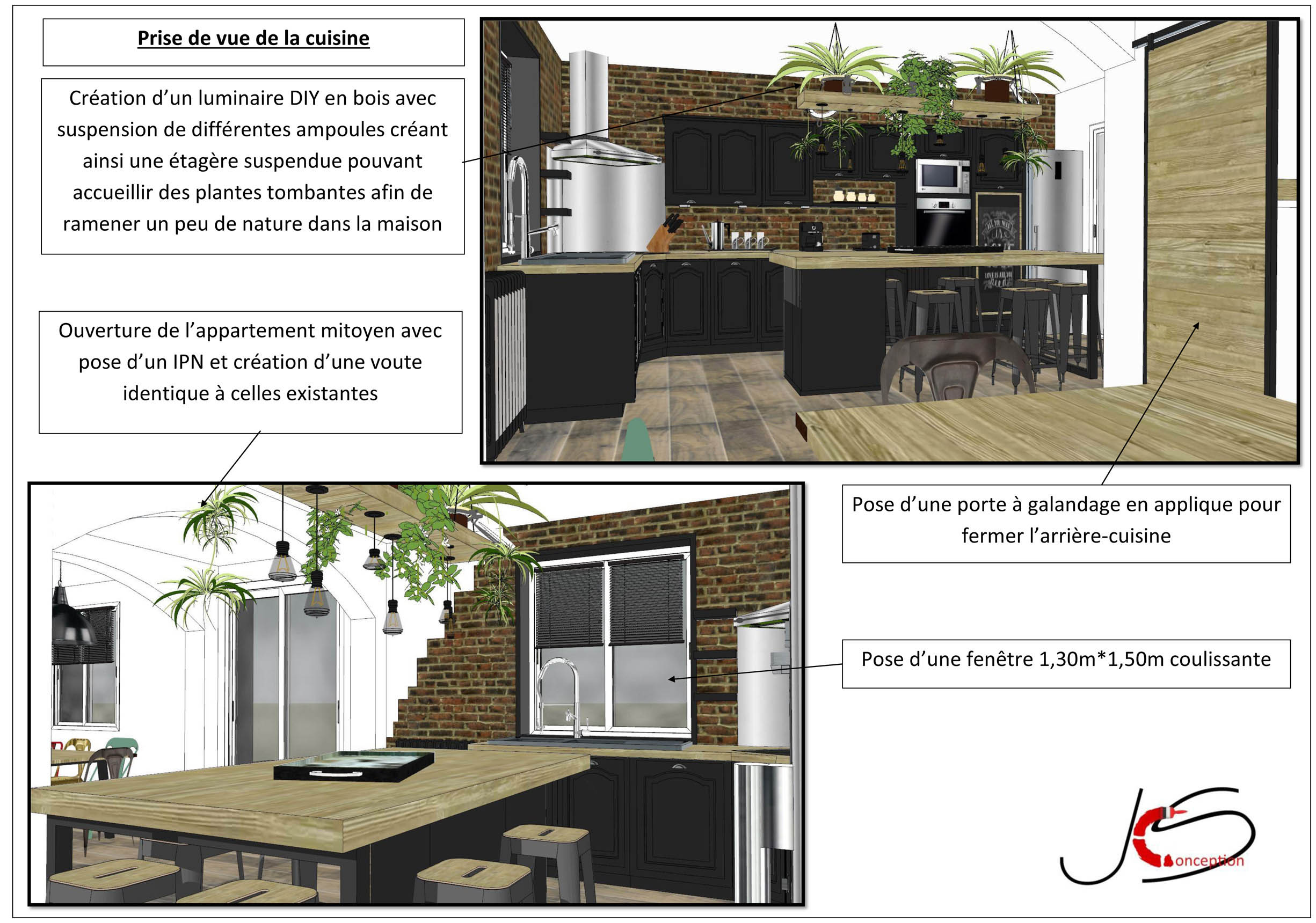 Plan 3D cuisine salle à manger